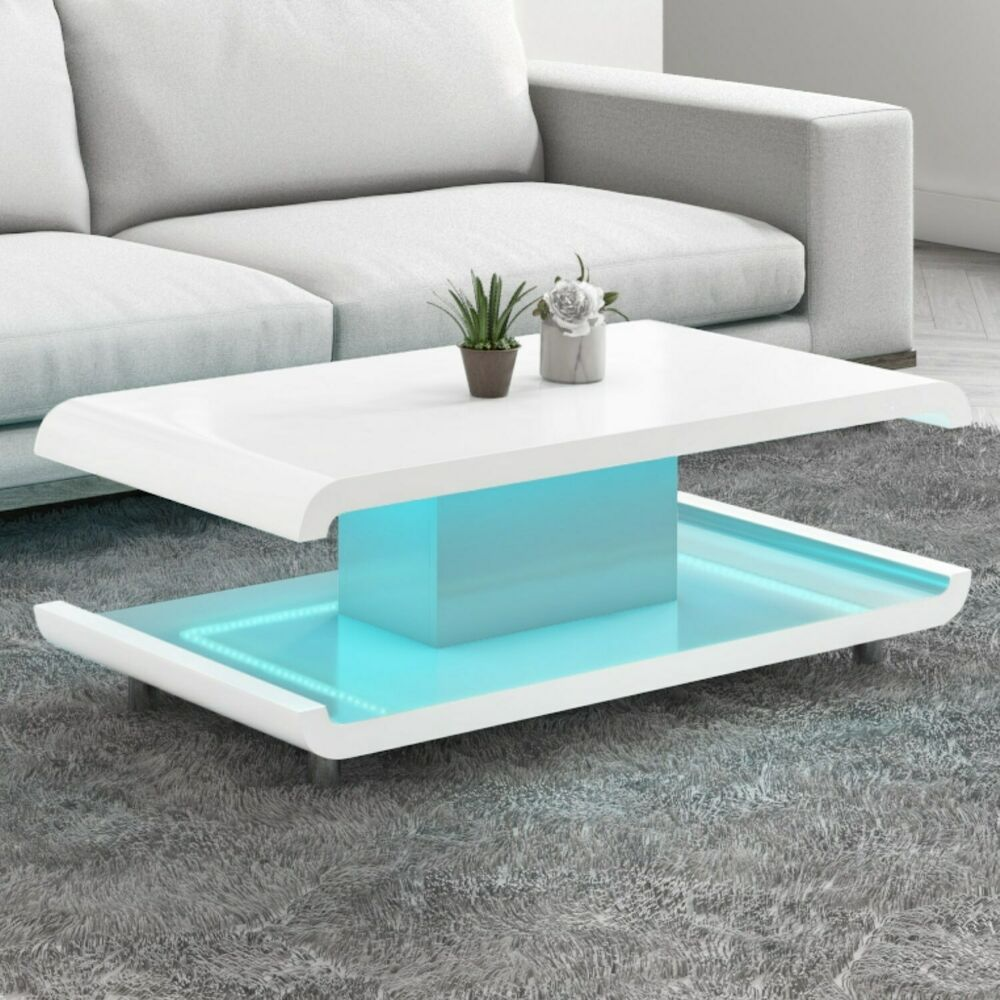 White High Gloss Coffee Table With Multi Colour Led