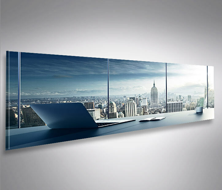bild auf leinwand manhattan v2 new york b ro panorama leinwandbild wandbild ebay. Black Bedroom Furniture Sets. Home Design Ideas