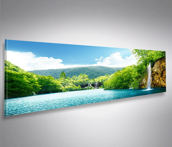 bild auf leinwand wasserfall v5 natur panorama xxl poster leinwandbild wandbild ebay. Black Bedroom Furniture Sets. Home Design Ideas