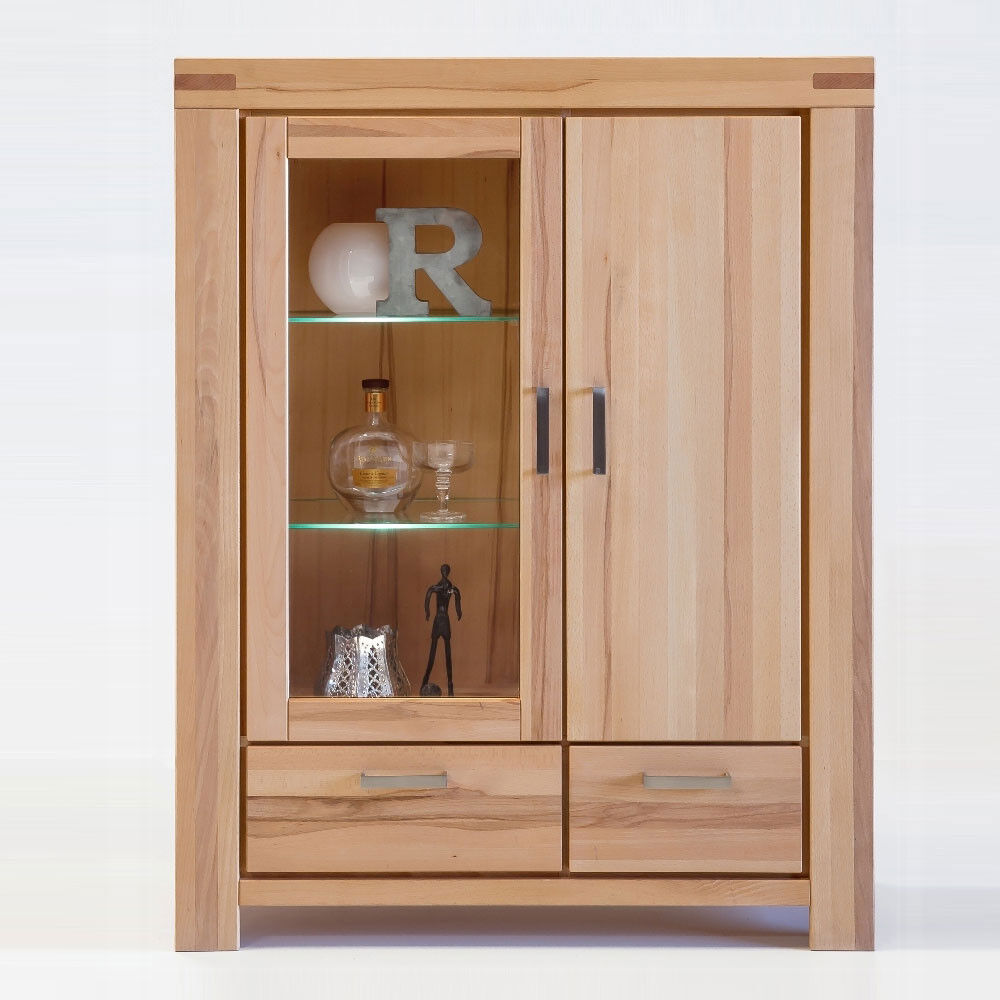 highboard kiroyal kernbuche massiv ge lt schrank vitrine buche natur anrichte ebay. Black Bedroom Furniture Sets. Home Design Ideas
