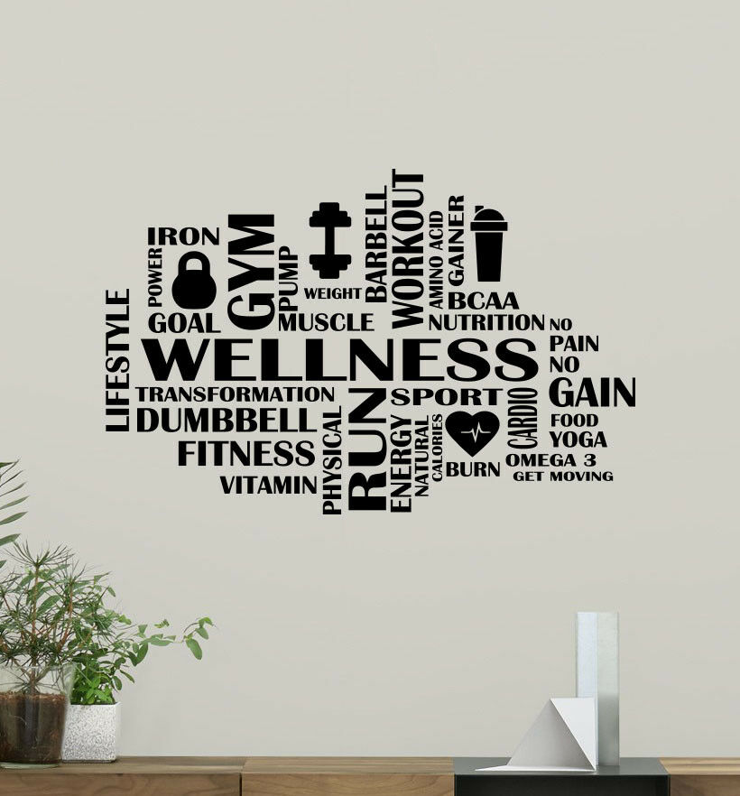 Amazoncom Gym Wall Decals Fitness Motivation Word Cloud - veracious.info