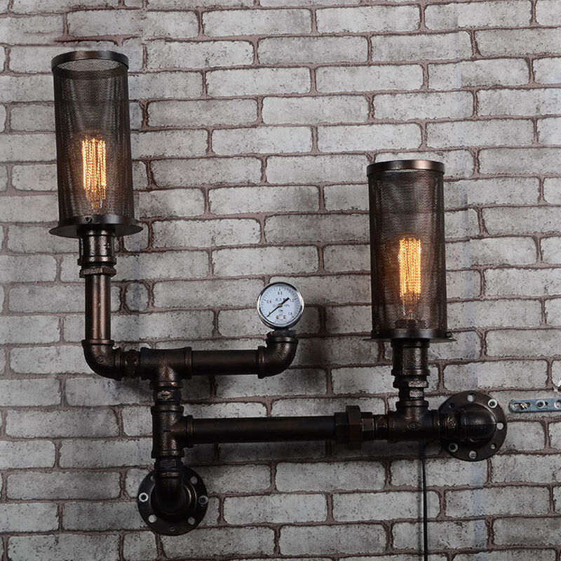Industrial Retro Steampunk Wall Lamp Rustic Wall Light Loft Sconce Pipe Fixture eBay