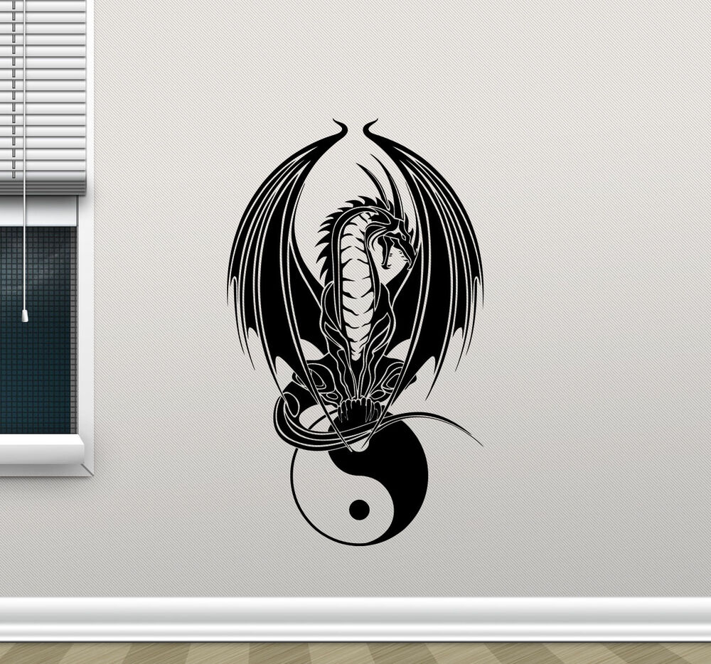 Dragon yin yang wall decal yoga vinyl sticker bedroom for Decoration murale yin yang