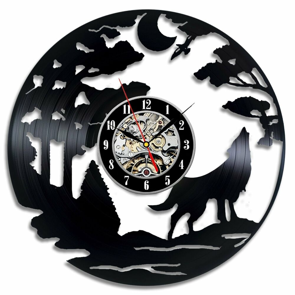 Wolf exclusive wall clock made of vinyl record gift decor for Vinyl records decorations for wall