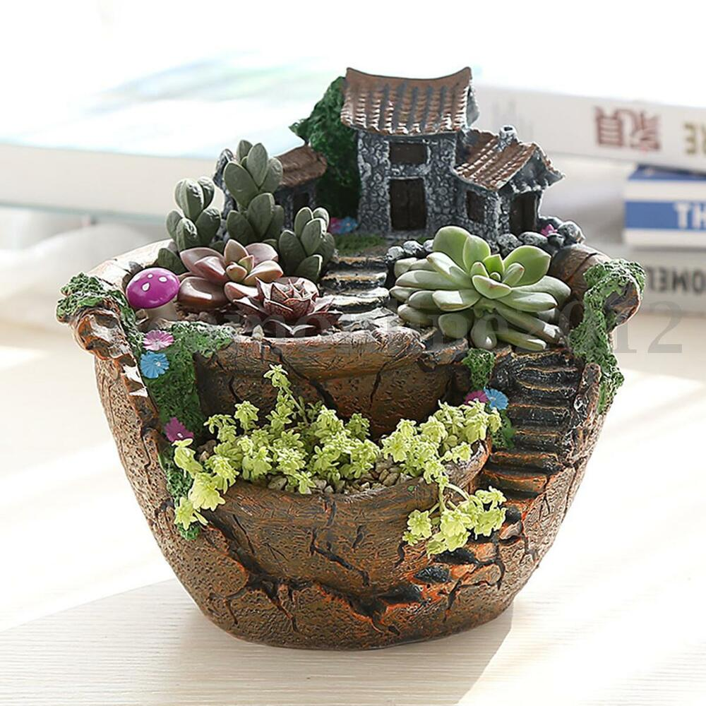 Sky garden planter herb flower cactus succulent clay pot for Small clay flower pots