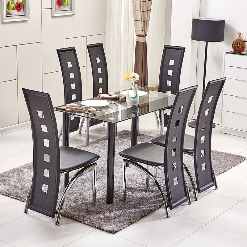 Diningroom Set Glass Dining Table High Back PU Leather Dining Chairs Metal Le
