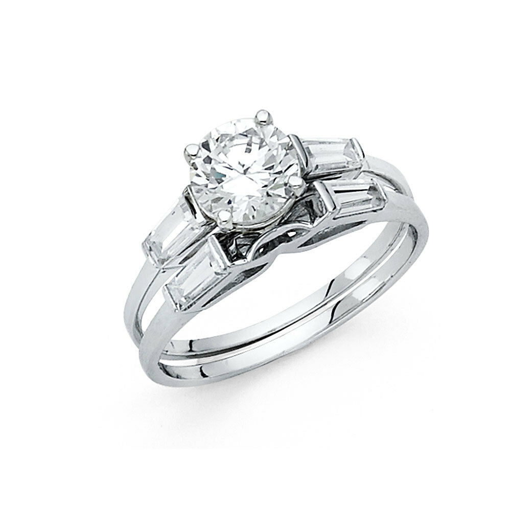 14k white gold solitaire engagement ring set