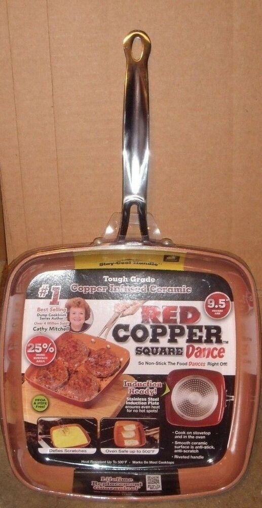 New As Seen On Tv Red Copper Square Dance Pan 9 5 Quot Non