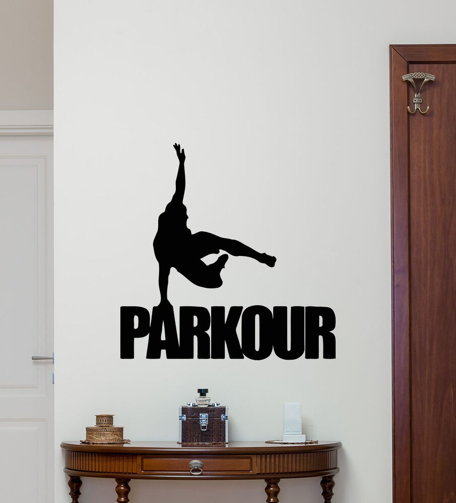 Parkour wall decal extreme sport vinyl sticker gym poster for Decor mural wall art