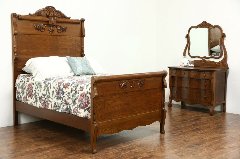 Victorian carved oak antique 1900 bedroom set full size for Bed and bedroom furniture sets
