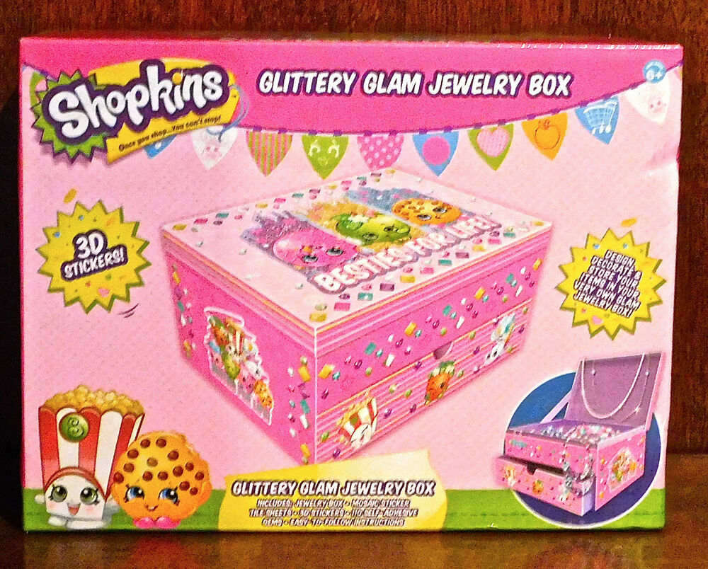 shopkins jewelry box collection shopkins glittery glam jewelry box 3d stickers gems 8362