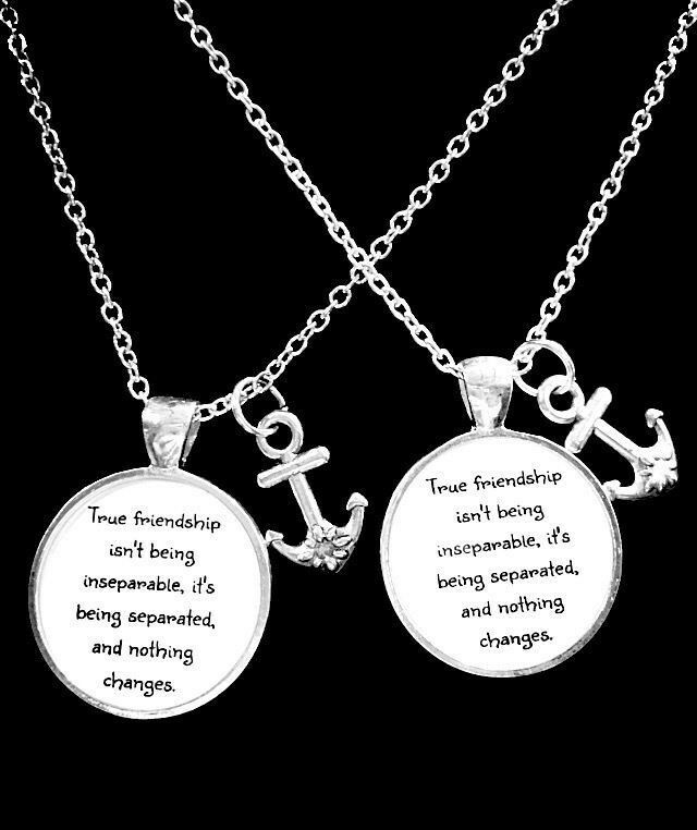 2 Necklaces Anchor True Friendship Long Distance Best