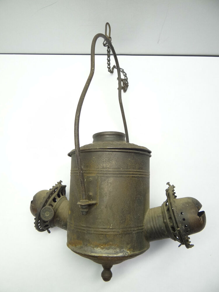 Antique Old Metal Angle Mfg Co Ny Railroad Oil Lamp