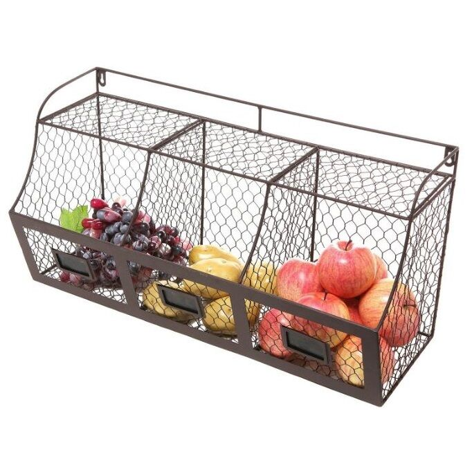 hanging storage baskets hanging fruit basket chicken wire rustic wall mount 1568
