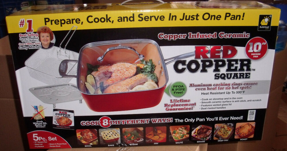 red copper chef square pan 5 piece set cookware pans as seen on tv ebay. Black Bedroom Furniture Sets. Home Design Ideas