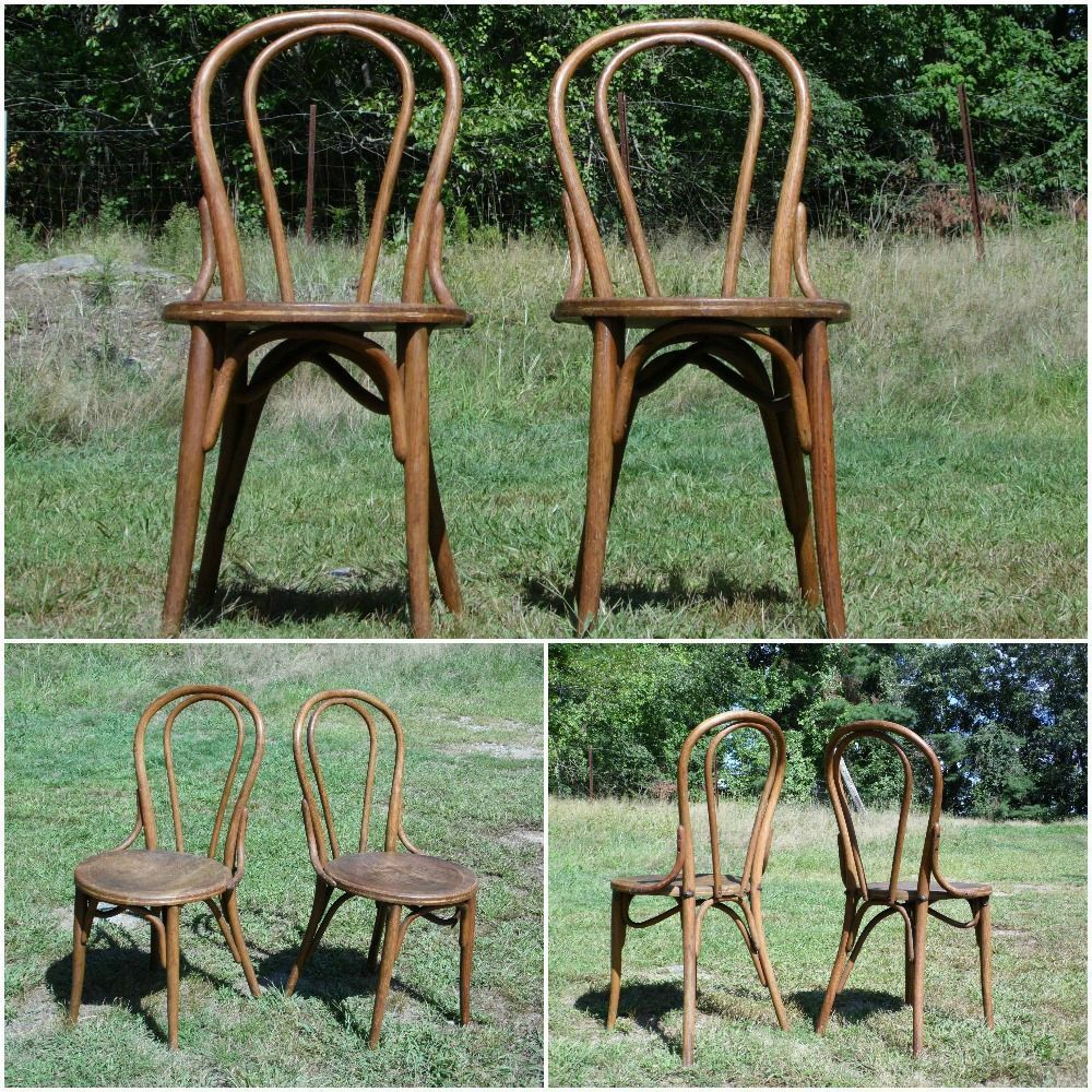 Antique Pair 1900s Bentwood Chairs Bistro Ice Cream Parlor