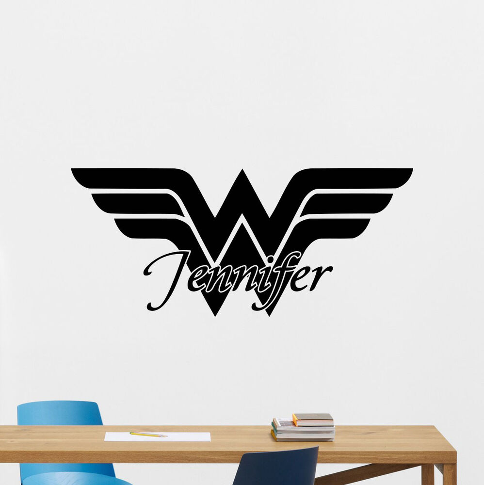 Custom name wonder woman logo wall decal personalized for Custom wall mural decals