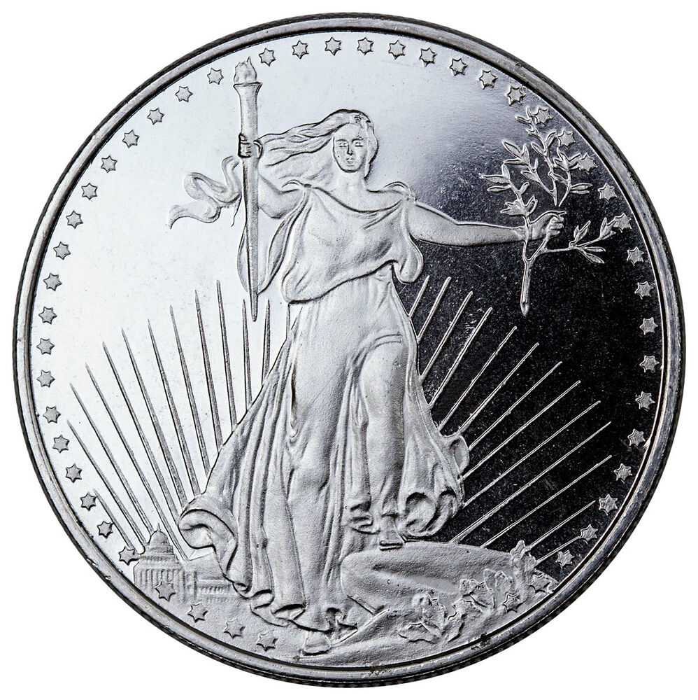 Highland Mint 1 Troy Oz 999 Fine Silver Saint Gaudens