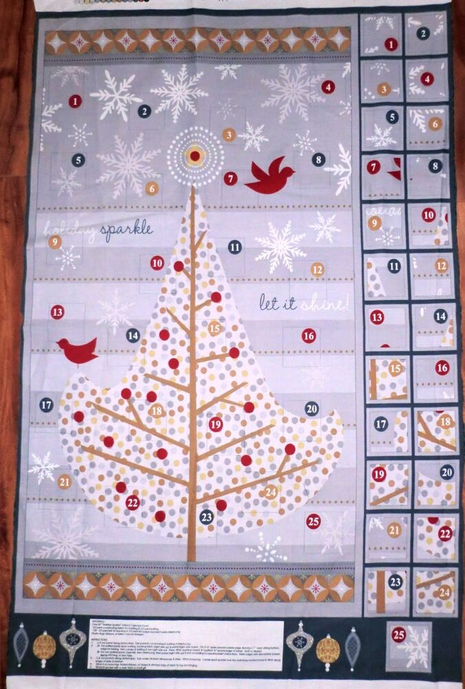 advent calendar fabric panel holiday sparkle christmas