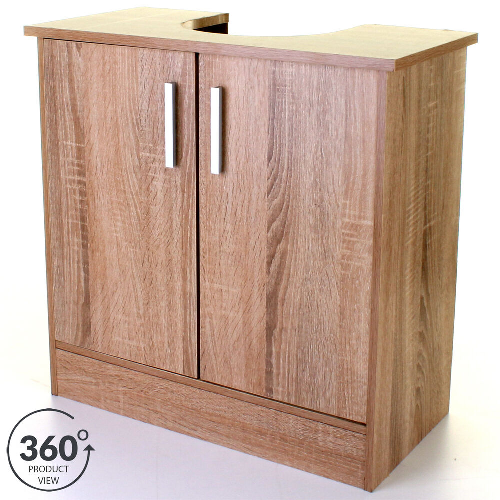 wood effect under sink cabinet basin cupboard storage bathroom