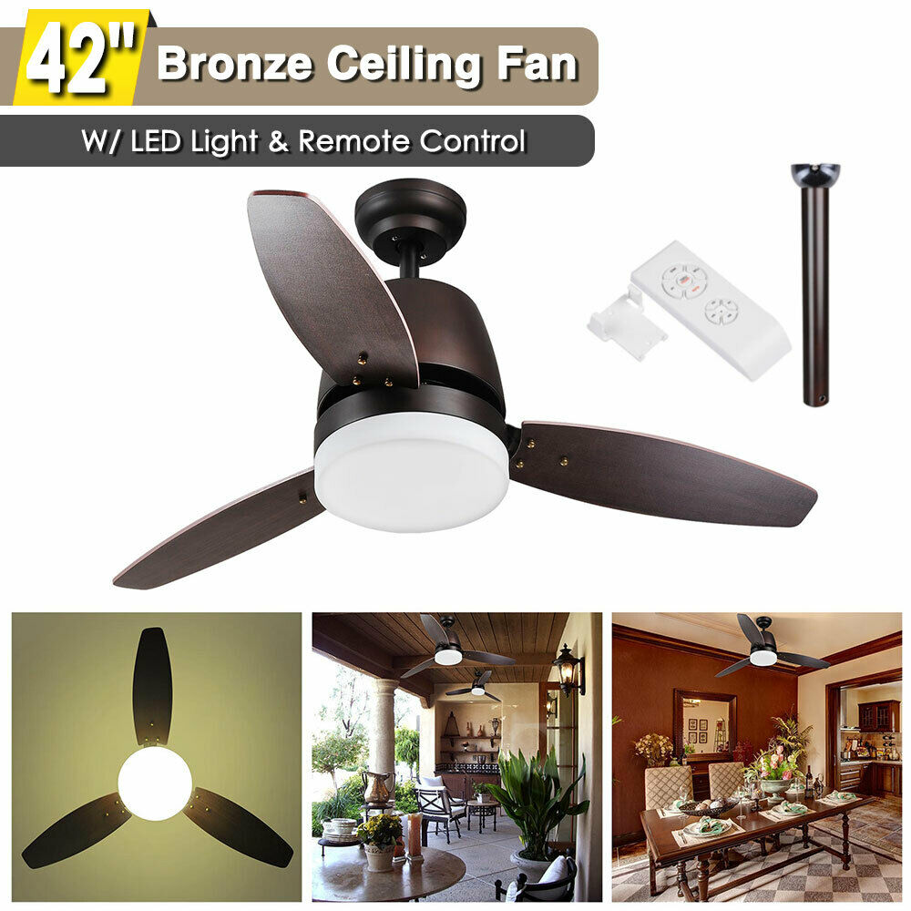 42 led flush mount bronze ceiling fan light w dimmable remote control 3 blade ebay. Black Bedroom Furniture Sets. Home Design Ideas