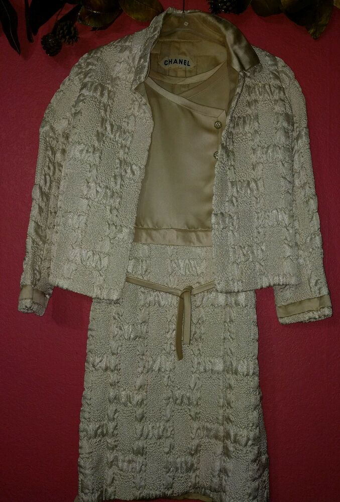 Chanel haute couture vintage quilted cream satin dress for Haute couture suits