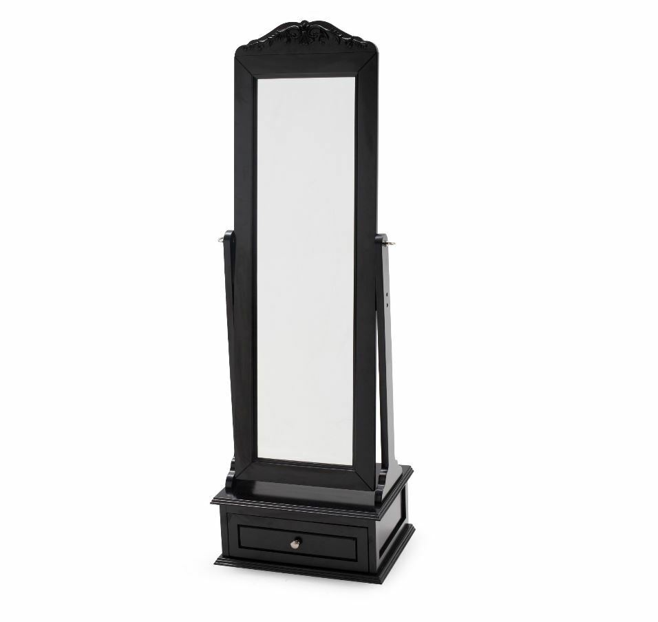 Cheval mirror mirrored jewelry armoire full length floor for Stand up mirror