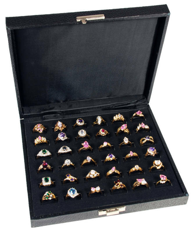 36 SLOT RING TRAY DISPLAY JEWELRY CASE TRAVEL BOX SHOW