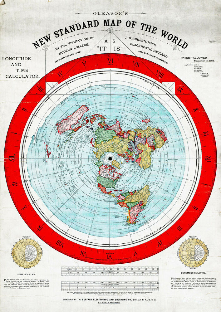 1892 Flat Earth Map Alexander Gleason New Standard Map
