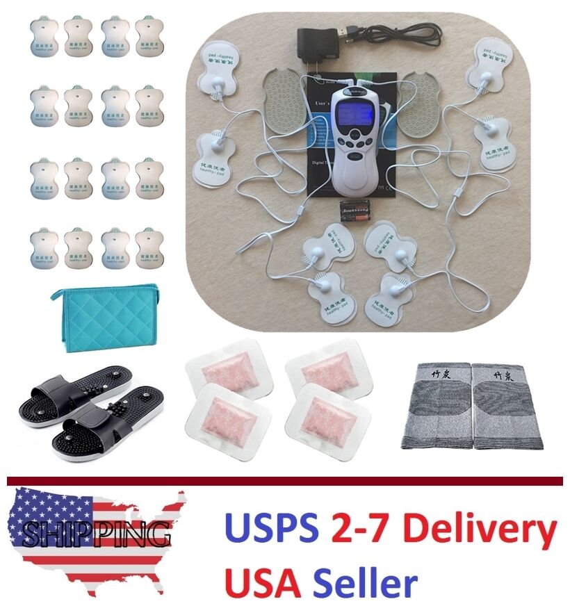 Tens Unit Massager Therapy Acupuncture 2 Outputs 8 Pads