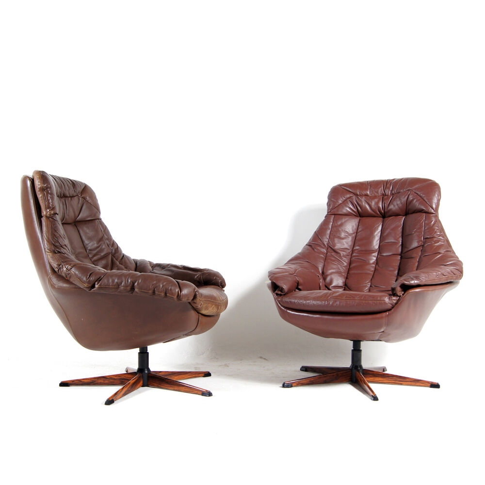 1 sold retro vintage danish bramin swivel leather armchair for Vintage 70s chair