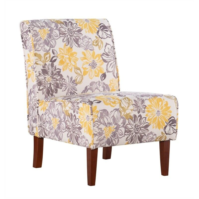 Linon Lily Bridey Accent Chair in Yellow and Gray | eBay