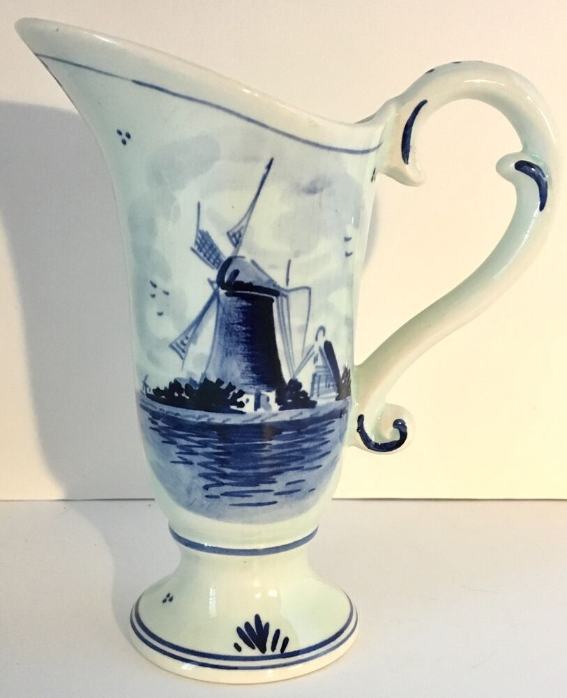 Delft Blue Hand Painted Pitcher, Vintage | eBay