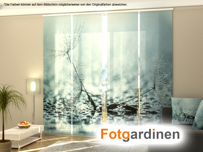 fotogardinen pusteblume schiebevorhang schiebegardinen fotodruck nach ma ebay. Black Bedroom Furniture Sets. Home Design Ideas
