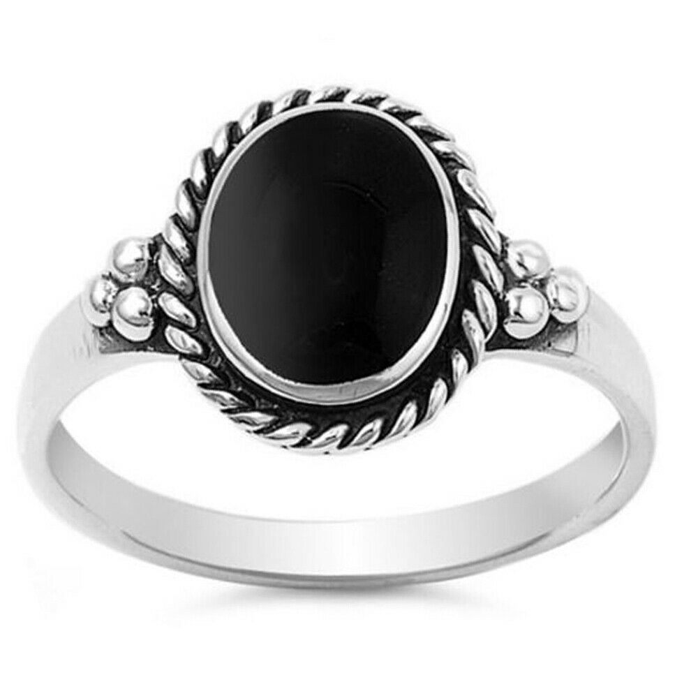 Women 12mm 925 Sterling Silver Simulated Black Onyx ...