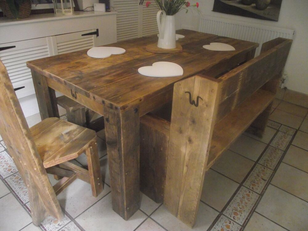 Uk Handmade Bespoke Rustic Reclaimed Vintage Dining Kitchen Table Chairs Bench Ebay