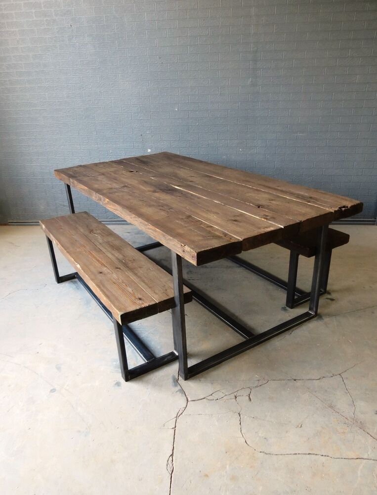 Reclaimed Industrial Chic 6 8 Seater Solid Wood Metal Dining Table Bar