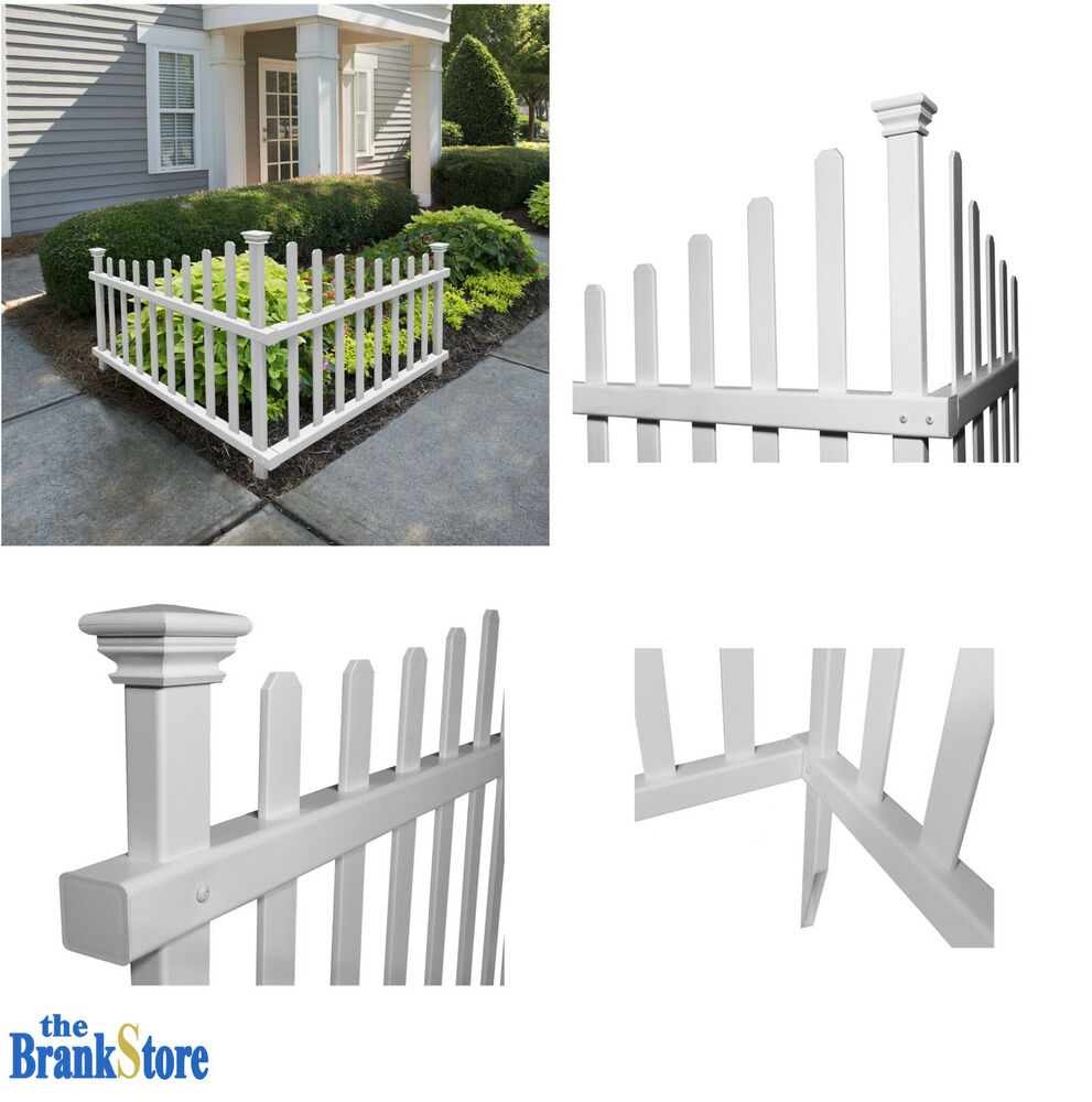Vinyl Picket Fence Outdoor Corner Decorative White Garden