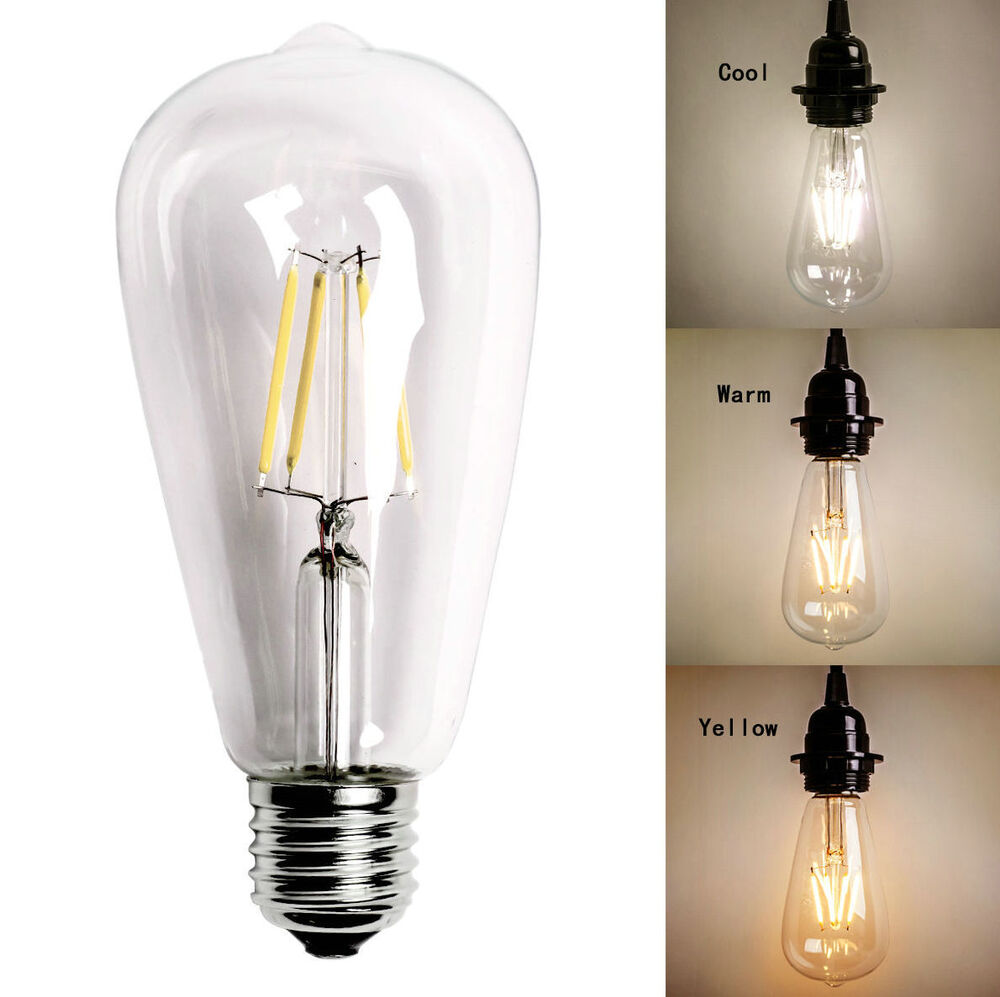 retro vintage edison e27 e26 2 4 6 8w screw led filament lights bulbs st64 globe ebay. Black Bedroom Furniture Sets. Home Design Ideas