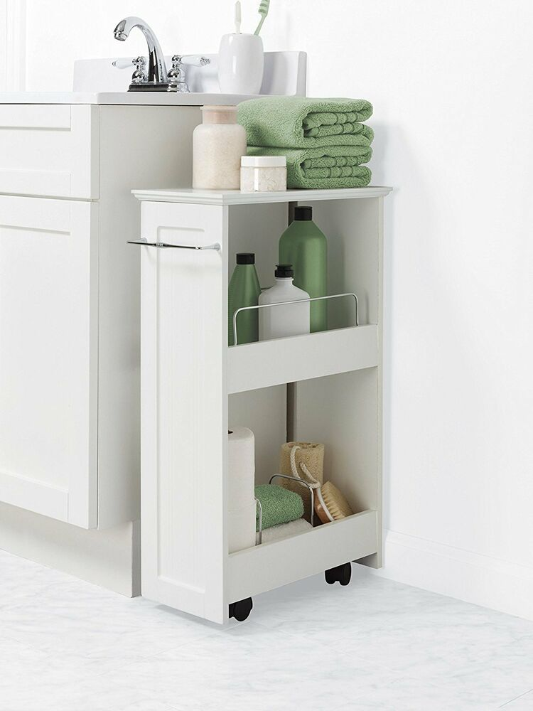 bathroom floor storage rolling cabinet organizer bath 18318
