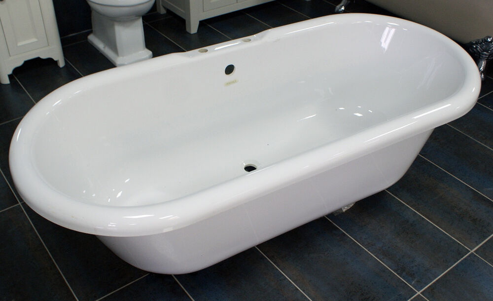 Heritage Oban Traditional Roll Top Bath Freesanding Acrylic No Feet Clearan