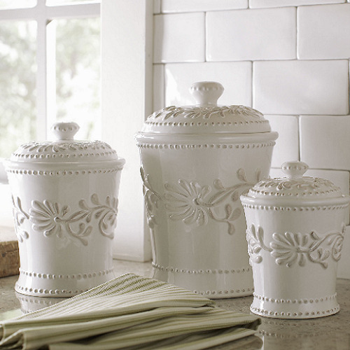 Kitchen Canisters Ceramic Sets: Ceramic Kitchen Canister Set White Ivory Counter Coffee