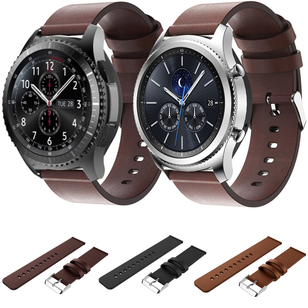 luxury genuine leather watch strap band for samsung gear. Black Bedroom Furniture Sets. Home Design Ideas