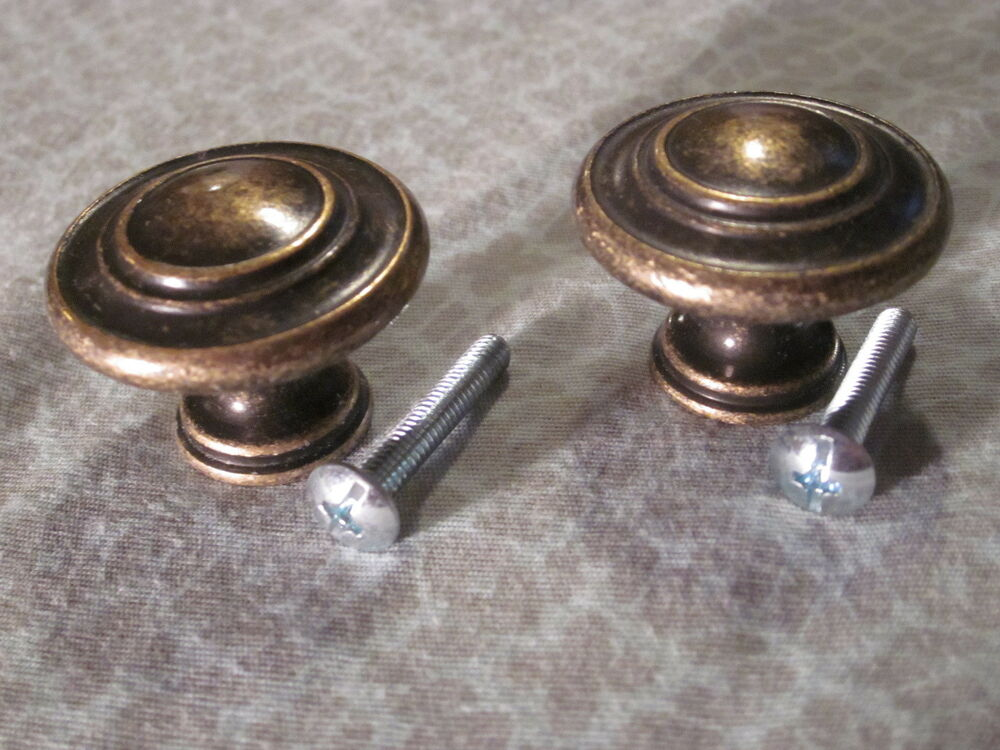 Sets of 2 aged brass drawer dresser cabinet pulls knobs for Small door knobs and handles