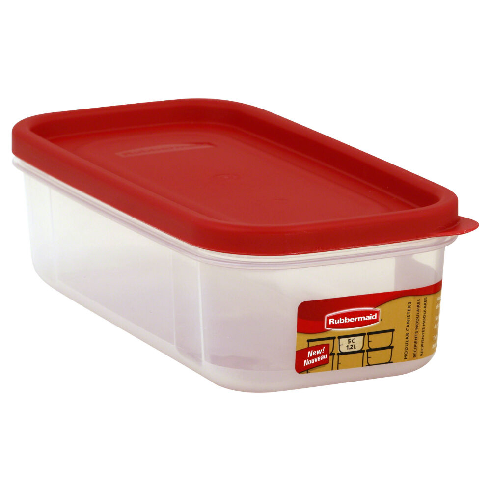 Rubbermaid 1776470 Modular Dry Food Container, Clear/Racer