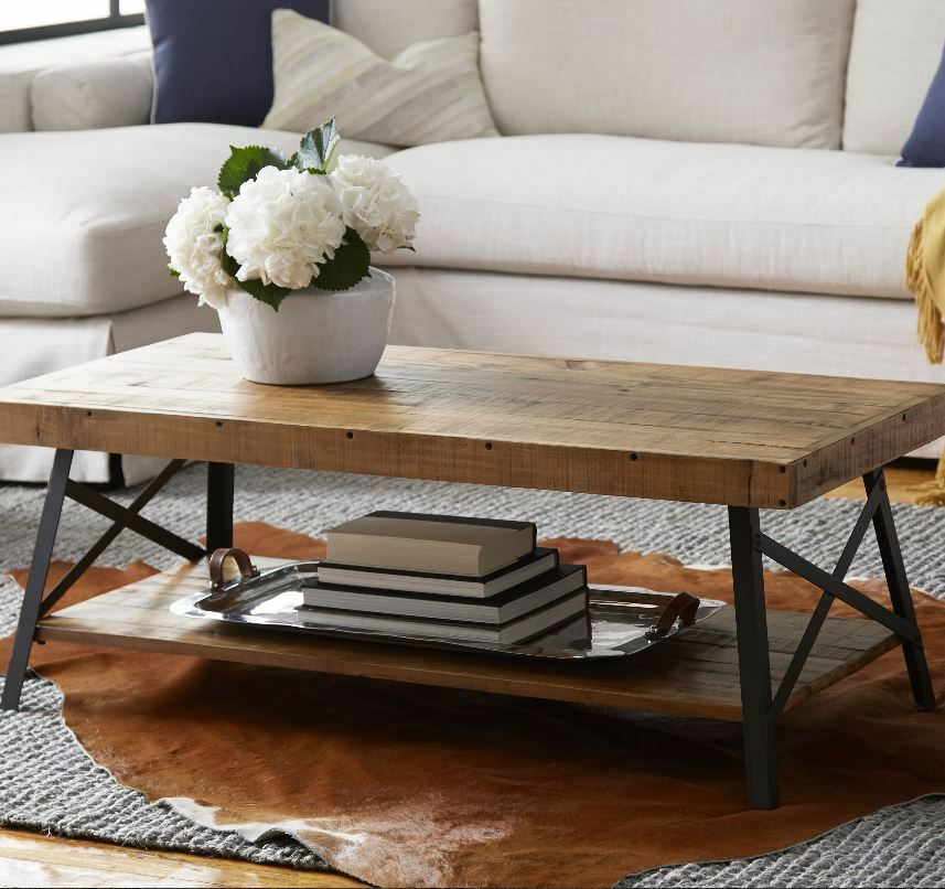 Rustic coffee table reclaimed solid wood farmhouse for Antique cream coffee table
