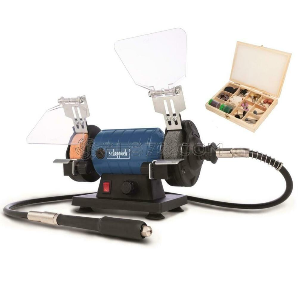 Mini Bench Grinder Polisher 230v With Flexible Shaft Accessory Scheppach Hg34 Ebay