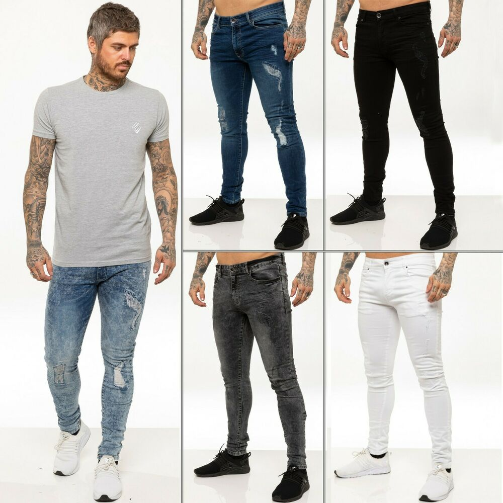 New ENZO Mens Skinny Super Stretch Fit Ripped Denim Jeans ... - photo#12