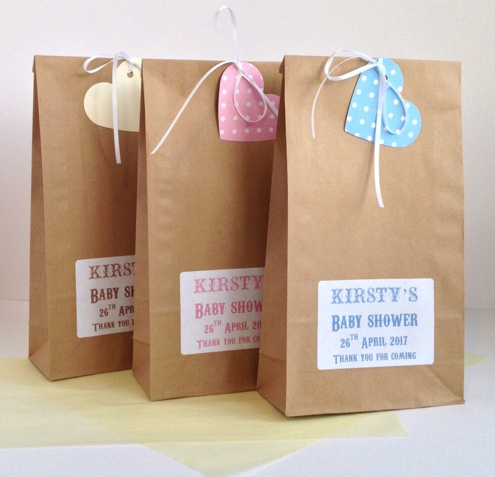 12 X Personalised Baby Shower Treat Wedding Gift Bags