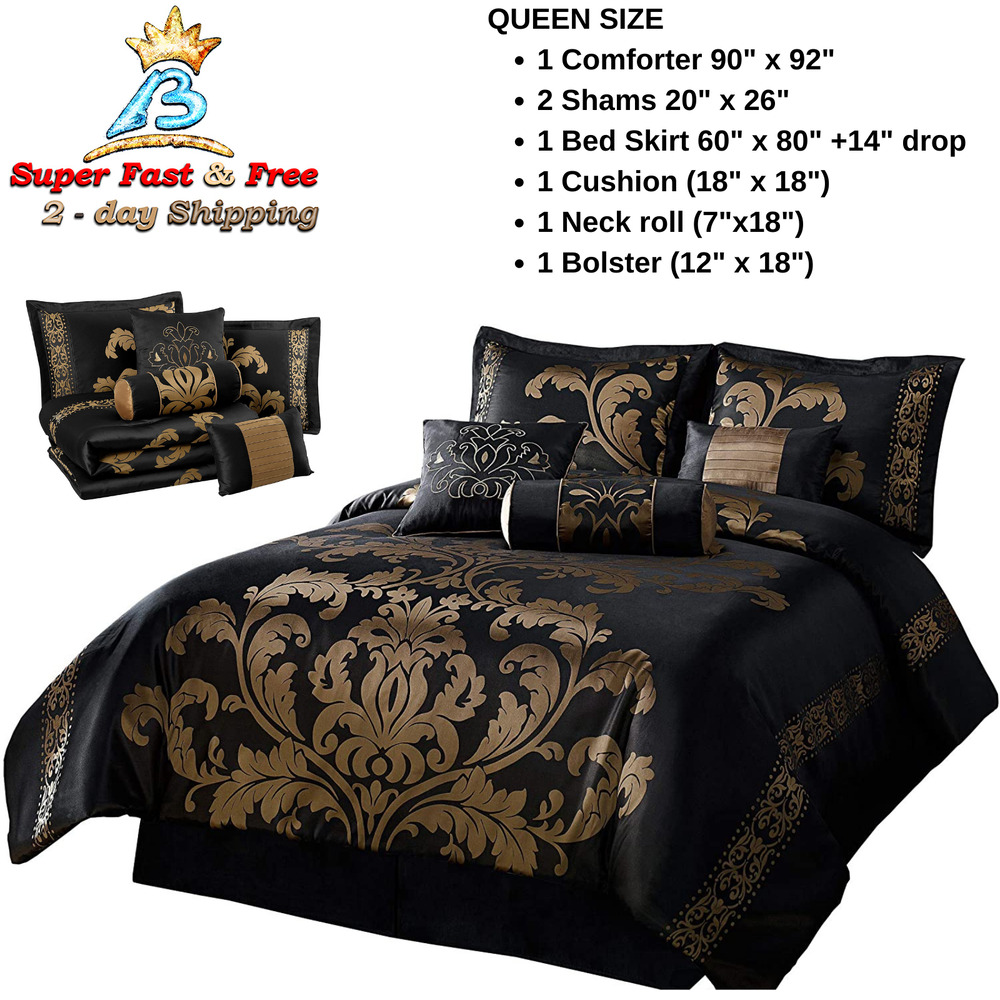 Jacquard comforter set king size bedding bed in bag clearance 7 piece floral new ebay for King size bedroom sets clearance